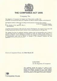 Certificate Of Good Standing For Uk Companies