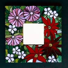 stained glass flowers mosaic mirror summer blooms