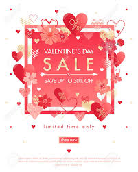 Valentines Flyers Valentines Day Special Offer Banner With Different Hearts And