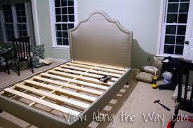 diy upholstered bed. DIY Upholstered Platform Bed: Gray With Nailhead Trim Diy Bed