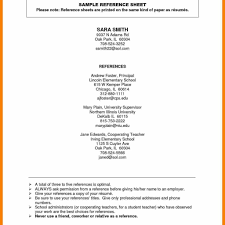 Template Reference List Doc 652770 Resume Reference List Template References Sample For A In