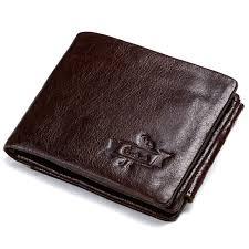 trendy gmw009a vintage crazy horse leather tri fold men wallet