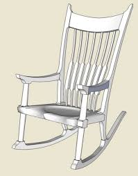 rocking chair drawing. Endearing Rocking Chairs Parts With Maloof Rocker Roughing Into Sketchup Finewoodworking Chair Drawing R