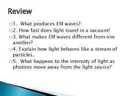 light electromagnetic waves em waves