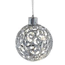 Lighted LED Filigree Silver Ball Ornament - Hanging Christmas Tree ...