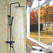 oil rubbed bronze shower head and handheld combo oil rubbed bronze 8 rain shower head tub spout thermostatic valve hand sprayer oil rubbed bronze rain