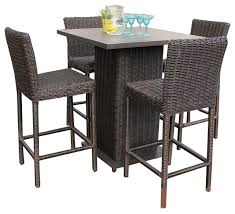 incredible bistro bar table and chairs rustico wicker outdoor pub table with bar stools 5 piece