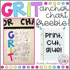 Anchor Charts Inspiration GRIT Growth Mindset Anchor Chart FREEBIE By Brandy Shoemaker TpT