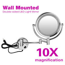 10x magnification dual side wall mount lighted cosmetic makeup vanity mirror new