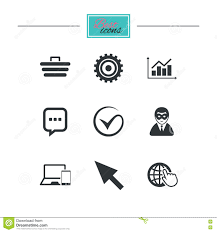 Internet Seo Icons Tick Shopping Signs Stock Vector