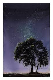 tree of life night sky landscape painting by artist eric sweet