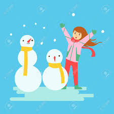 Happy Girl Making Snowmen Winter Activity Colorful Character