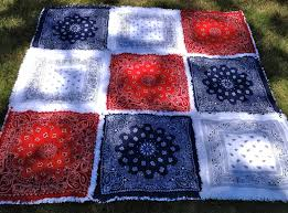 Red White Blue Bandana Rag Quilt Picnic Blanket by ZeedleBeez ... & Red White Blue Bandana Rag Quilt Picnic Blanket by ZeedleBeez, $85.00 2  layers of white Adamdwight.com