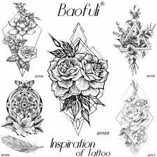 Baofuli геометрические алмазные розы временный эскиз татуировки