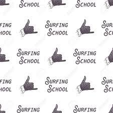 サーフィン学校古いスタイルのパターン デザイン夏にサーファー記号 シームレスな壁紙
