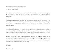 High School Recommendation Letter For Student Reference Letter Template For Student Of Recommendation