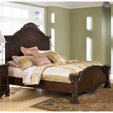 Ashley Furniture North Shore Queen Panel Bed in Dark Brown