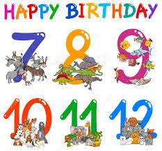 Birthday Cards Design For Kids Cartoon Illustration Design Of The Birthday Greeting Cards Set