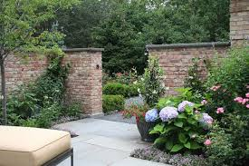 red brick furniture. Garden Brick Wall Design Ideas Landscape Traditional With Gravel Pathway Red Pink Flowers Furniture