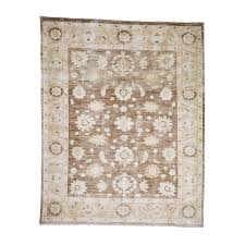 distressed peshawar with chocolate brown oriental rug image