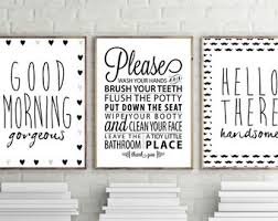 bathroom wall art goodmorning gorgeous print hello handsome print bathroom rules wall decor set of 3 bathroom posters minimal art on high end bathroom wall art with bathroom wall art etsy