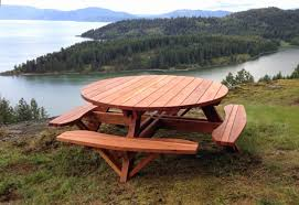round wooden picnic table elegant round wooden picnic table with attached benches