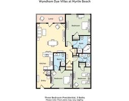 Wyndham Dye Villas At Myrtle Beach 3 Bedroom Presidential Floor Plan