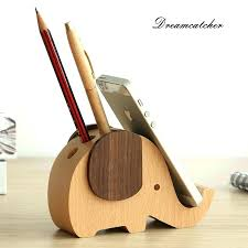 telephone stand office desk phone stand solid wooden elephant design mobile phone holder with loop hole