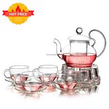 big ear glass tea set with warmer 15 off