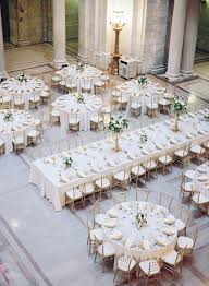 Wedding Reception Table Layout Mixed Round And Rectangle Gold And White Wedding Reception Table