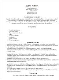 Sample Of Medical Records Medical Records Specialist Resume Resume Teamplates