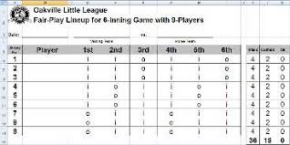 Fair Play Line Up Sheets For 6 Inning Games