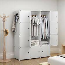 Free standing wardrobe Cool Yozo Portable Wardrobe Plastic Modular Closet Storage Organizer White 3x4tiers Ebay Freestanding Wardrobes Ebay