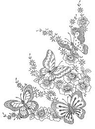 Butterfly And Flower Coloring Pages For Adults Coloring Coloring