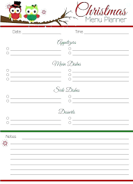 Holiday Meal Planner Template Free Holiday Menu Template Download