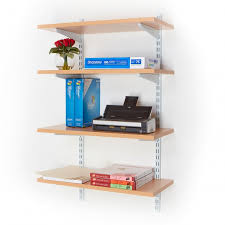 office wall mounted shelving. Office Wall Mounted Shelving Kits In White | 600mm Wide Beech Shelves