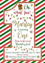 B Day Invitation Cards Christmas 1st Birthday Invitation Christmas Birthday Invitation Card