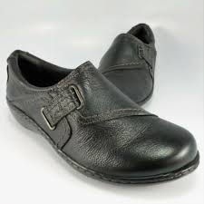 details about clarks ashland blush loafers women size 6m black leather slip ons moccasins