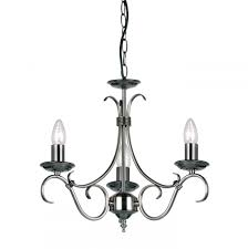 traditional antique silver 3 arm ceiling light