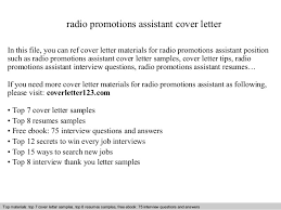 Promotion Cover Letter Radio Promotions Assistant Cover Letter