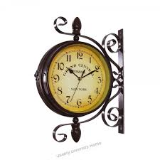 wrought iron vintage inspired rotatable double sided wall clock wall hanging clock home décor art clock