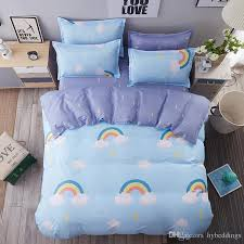 rainbow white clouds bedding set blue scenic duvet cover bed sheet sets single double queen king