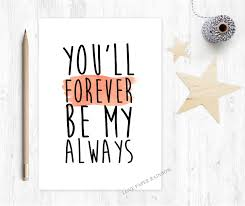 Love My Fiance Quotes Custom Valentines Card Romantic Card Boyfriend Card You'll Forever Be My