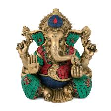 aesthetic ganesha statue in br and turquoise handmade gifts and decor