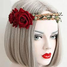 2699 Bijoux Gothique Coiffure Inspiration Vintage Rouge Lolita Accessoires Casque Fleur Pour Femme