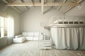 Wohnzimmer Design Mit Sofa Und Erhöhten Schlafzimmer Abschnitt 3d
