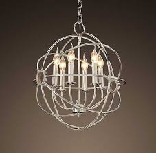 nickel orb chandelier new restoration hardware foucaults iron orb chandelier