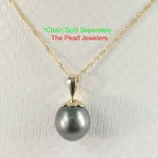 details about 14k yellow solid gold genuine 8 9mm baroque black tahitian pearl pendants tpj