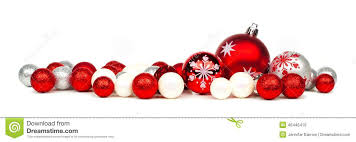 Christmas Ornaments Border Red And White Christmas Ornament Border Stock Image Image