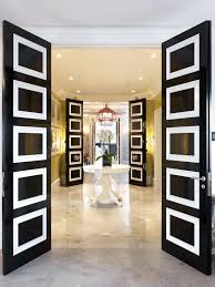 white interior front door. Decoration Inspiration Trendy Double Swing Entry Doors With Black Gloss Painted And White Square Accent Paneling Also Round Pedestal Table Decors As Interior Front Door N